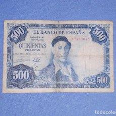 Billetes españoles: BILLETE DE QUINIENTAS 500 PESETAS AÑO 1954 IGNACIO ZULOAGA BUEN ESTADO DE CONSERVACION. Lote 192494930