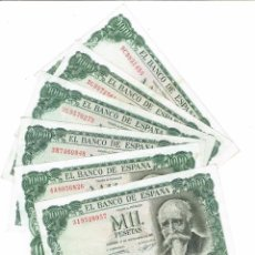 Billetes españoles: LOTE 6 BILLETES DE 1000 PTS 1971 J. ECHEGARAY , TODOS CON SERIES, BUEN ESTADO. Lote 192899305