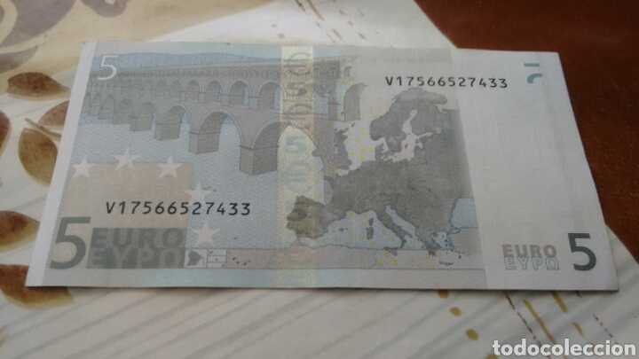 Billetes españoles: Billete 5 euros España (V) modelo antiguo firma trinchet ebc++ - Foto 2 - 192982293