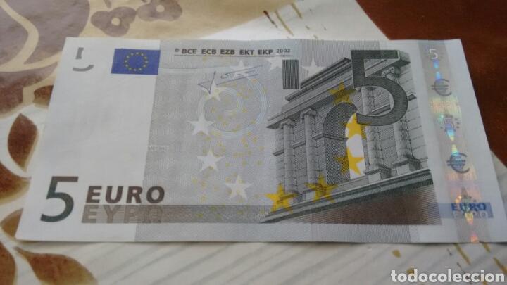 BILLETE 5 EUROS ESPAÑA (V) MODELO ANTIGUO FIRMA TRINCHET EBC++ (Numismática - Notafilia - Billetes Españoles)
