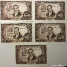 Billetes españoles: 5 BILLETES 100 CIEN PESETAS CORRELATIVOS 1953. Lote 194218388