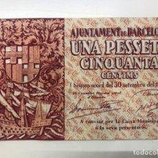 Billetes españoles: BILLETE UNA 1 PESETA CINCUENTA CÉNTIMOS 1937. Lote 194218623