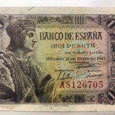 Billetes españoles: BILLETE UNA 1 PESETA 1943 SERIE A. Lote 194218987