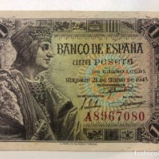Billetes españoles: BILLETE UNA 1 PESETA 1943. Lote 194219047