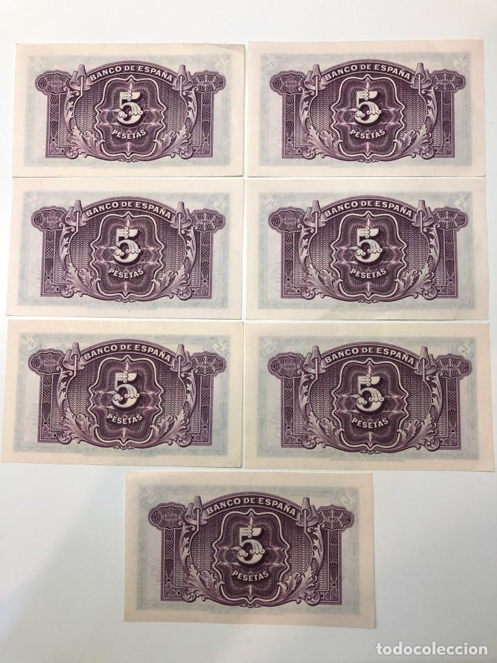 Billetes españoles: 5 Billetes correlativos 5 cinco pesetas 1935 - Foto 2 - 194224600