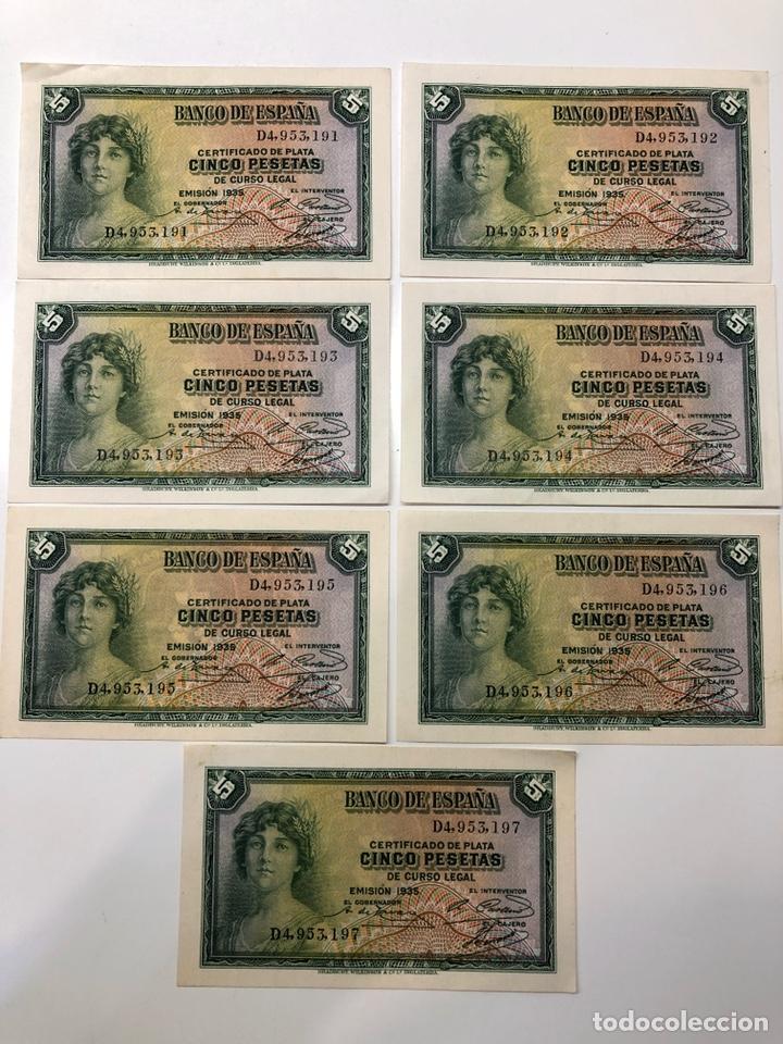 5 BILLETES CORRELATIVOS 5 CINCO PESETAS 1935 (Numismática - Notafilia - Billetes Españoles)
