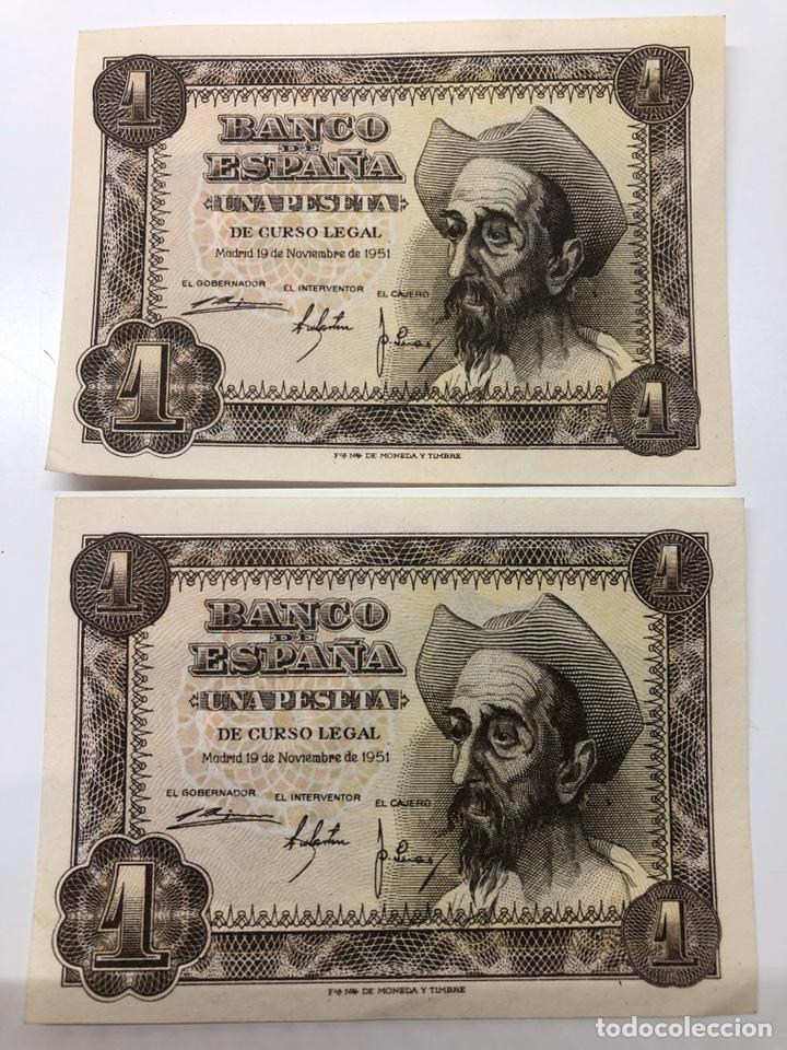 2 BILLETES CORRELATIVOS 1 UNA PESETA 1951 (Numismática - Notafilia - Billetes Españoles)