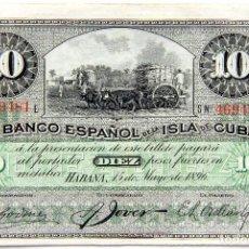 Billetes españoles: BANCO ESPAÑOL DE LA ISLA DE CUBA: BILLETE 10 PESOS 1896. Lote 194255051