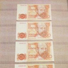 Billetes españoles: 4 BILLETES 200 PESETAS 1980 , SERIES CORRELATIVAS . SIN CIRCULAR .. Lote 194259792
