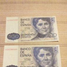 Billetes españoles: 2 BILLETES 500 PESETAS , 1979 . SIN CIRCULAR .. Lote 194260175