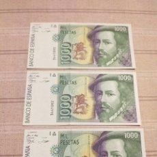 Billetes españoles: 3 BILLETES 1000 PESETAS , SERIES CORRELATIVAS. SIN CIRCULAR.. Lote 194260258