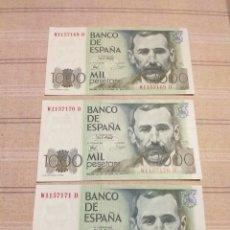 Billetes españoles: 3 BILLETES 1000 PESETAS . SERIES CORRELATIVAS , SIN CIRCULAR.. Lote 194260537