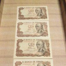 Billetes españoles: 4 BILLETES 100 PESETAS 1970 , SIN CIRCULAR.. Lote 194261642
