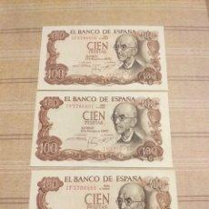 Billetes españoles: 3 BILLETES 100 PESETAS 1970 , SERIES CORRELATIVAS , SIN CIRCULAR.. Lote 194261767