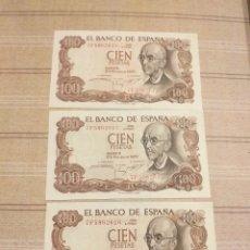 Billetes españoles: 3 BILLETES 100 PESETAS , SERIES CORRELATIVAS , SIN CIRCULAR .. Lote 194261950