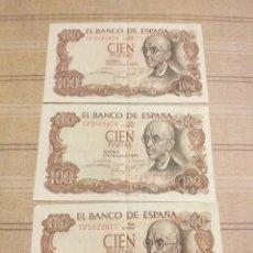 Billetes españoles: 3 BILLETES 100 PESETAS SERIES CORRELATIVAS .. Lote 194262187