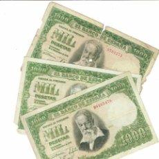Billetes españoles: LOTE 3 BILLETES 1000 PTS 1951 JOAQUIN SOROLLA. Lote 194270075