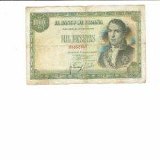 Billetes españoles: 1 BILLETE DE 1000 PTS 1949 RAMON DE SANTILLANA , SIN SERIE . USADO EN BUEN ESTADO. Lote 194270827