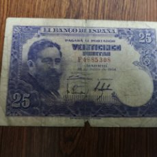 Billetes españoles: A1. BILLETE DE 25 PESETAS. 1954. Lote 194294266