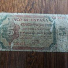 Billetes españoles: A1. BILLETE DE 5 PTAS DE 1938. Lote 194294312