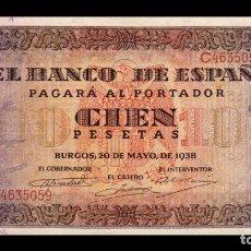 Billetes españoles: ESPAÑA SPAIN 100 PESETAS BURGOS 1938 PICK 113 SERIE C SC UNC. Lote 194305573