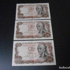 Billetes españoles: TRES BILLETES DE CIEN PESETAS CORRELATIVOS . Lote 194311236