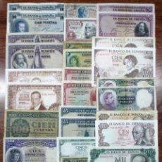 Billetes españoles: 30 BILLETES DE ALFONSO XIII, 2ª REPUBLICA, ESTADO ESPAÑOL Y JUAN CARLOS I LOTE 1362. Lote 194365723