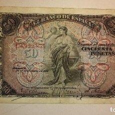 Billetes españoles: BILLETES CLASICOS DE ESPAÑA 1906 ALFONSO XIII 50 PESETAS. Lote 194395728
