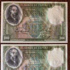 Billetes españoles: PAREJA DE 1000 PESETAS 1931 ZORILLAS NO CÍRCULO NO EMITIDOS RARÍSIMO. Lote 194405248