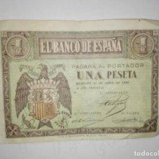 Billetes españoles: BILLETE DE BURGOS DE 1 PESETA DE BURGOS DEL 30 DE ABRIL DEL AÑO 1938 . Lote 194520113
