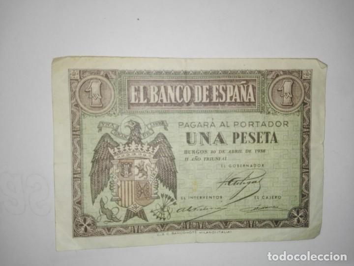 BILLETE DE BURGOS DE 1 PESETA DE BURGOS DEL 30 DE ABRIL DEL AÑO 1938 (Numismática - Notafilia - Billetes Españoles)