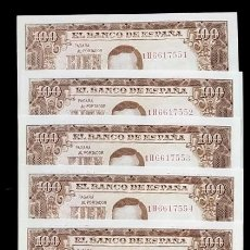 Billetes españoles: 10 BILLETES CORRELATIVOS 100 PESETAS 1953 S/C. Lote 194521613