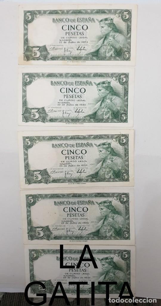 LOTE DE 5 BILLETES DE 5 PESETAS DE 1954, SERIE H, PERO NO CORRELATIVOS. (Numismática - Notafilia - Billetes Españoles)
