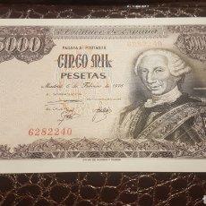 Billetes españoles: BILLETE 5000 PESETAS AÑO 1976 SIN SERIE Y SIN CIRCULAR. Lote 194537107