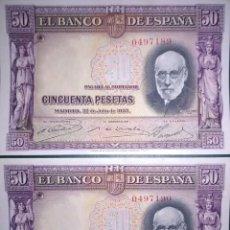 Billetes españoles: PAREJA CORRELATIVA 50 PESETAS DE 1935 SIN SERIE, Nº BAJO, SIN CIRCULAR. Lote 194554187