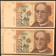 Billetes españoles: LOTE DE 3 BILLETES DE 5000 PESETAS, 1992, CRISTÓBAL COLON. 4F, 5B Y 6H.. Lote 194570973