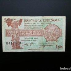 Billetes españoles: BILLETE DE 1 PTA DE 1937.. REPUBLICA.... PRECIOSO .....ES EL DE LAS FOTOS. Lote 194578653