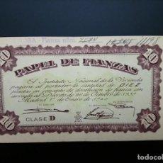 Billetes españoles: BILLETE DE, 10 PTAS.. 1940.. PAPEL DE FINANANZAS .....ES EL DE LAS FOTOS. Lote 194582115