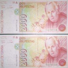 Billetes españoles: PAREJA CORRELATIVA DE 2000 PESETAS DE 1992 SERIE ESPECIAL, SIN CIRCULAR. Lote 194584451