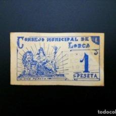 Billetes españoles: BILLETE DE 1 PTA DE 1937 CONSEJO MUNICIPAL DE LORCA .....ES EL DE LAS FOTOS. Lote 194597867