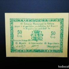 Billetes españoles: BILLETE DE 50 CÉNTIMOS DE 1937 CONSEJO MUNICIPAL DE TOTANA.. GUERRA CIVIL. .....ES EL DE LAS FOTOS. Lote 194598023