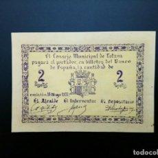 Billetes españoles: BILLETE DE 2 PTAS DE 1937 CONSEJO MUNICIPAL DE TOTANA.. GUERRA CIVIL. .....ES EL DE LAS FOTOS. Lote 194598232