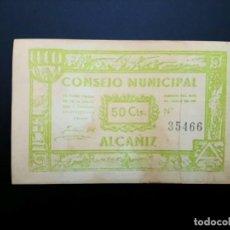 Billetes españoles: BILLETE DE 50 CÉNTIMOS DE 1937 CONSEJO MUNICIPAL DE ALCAÑIZ .. GUERRA CIVIL. .....ES EL DE LAS FOTOS. Lote 194598432