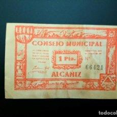 Billetes españoles: BILLETE DE 1 PTA DE 1937 CONSEJO MUNICIPAL DE ALCAÑIZ .. GUERRA CIVIL. .....ES EL DE LAS FOTOS. Lote 194598481