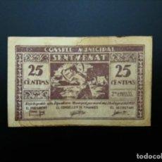 Billetes españoles: BILLETE DE 25 CÉNTIMOS DE 1937 CONSEJO MUNICIPAL DE SENTMENAT..GUERRA CIVIL. .....ES EL DE LAS FOTOS. Lote 194599061