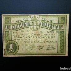 Billetes españoles: BILLETE DE 1 PTA DE 1937. AJUNTAMENT DE FONTS DE SACALM.... GUERRA CIVIL... ....ES EL DE LAS FOTOS. Lote 194599975