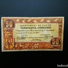 Billetes españoles: BILLETE DE 50 CÉNTIMOS DE 1937. AJUNTAMENT DE LLEIDA .... GUERRA CIVIL... ....ES EL DE LAS FOTOS. Lote 194600107