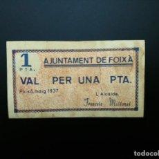 Billetes españoles: BILLETE DE 1 PTA DE 1937. AJUNTAMENT DE CABRERA DE FOIXA .. GUERRA CIVIL....... ES EL DE LAS FOTOS. Lote 194600306