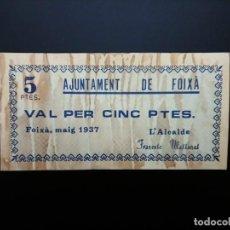 Billetes españoles: BILLETE DE 5 PTAS DE 1937. AJUNTAMENT DE CABRERA DE FOIXA .. GUERRA CIVIL....... ES EL DE LAS FOTOS. Lote 194600506