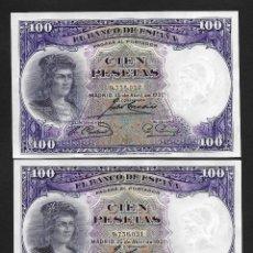 Billetes españoles: PAREJA CORRELATIVA 100 PESETAS 1931 SIN SERIE S/C. Lote 194687276
